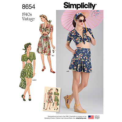 Image of Simplicity 1940's Vintage Women's Top and Skirt Sewing Pattern, 8654