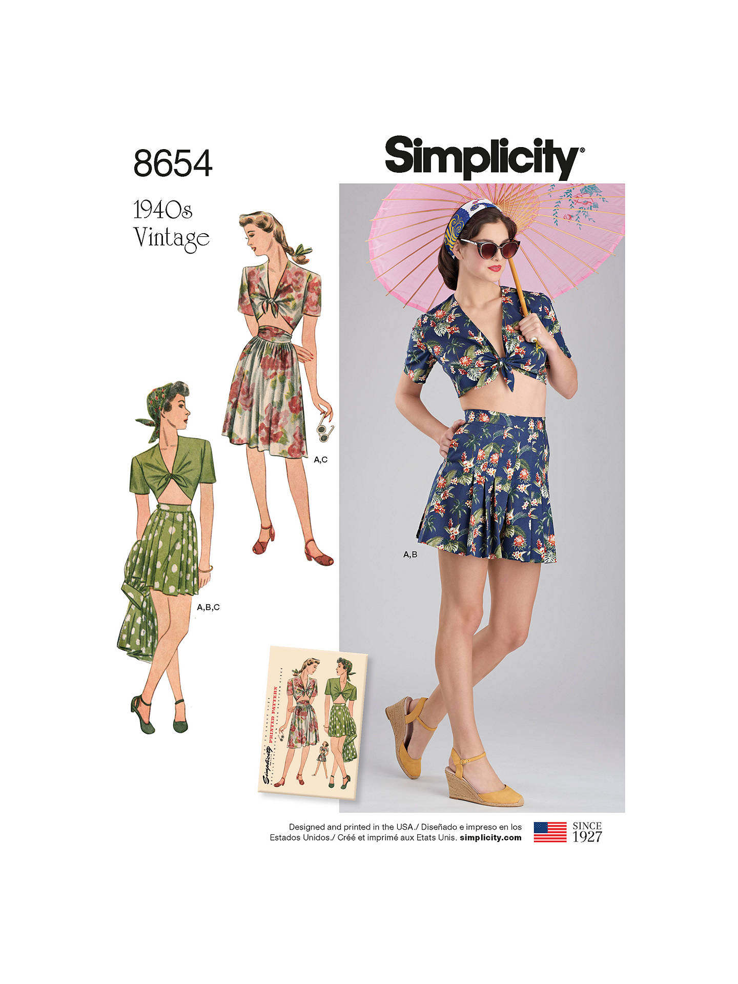 15e41420140f6 Buy Simplicity 1940's Vintage Women's Top and Skirt Sewing Pattern, 8654,  D5 Online at ...