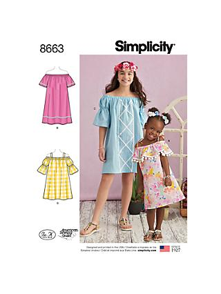 Simplicity Girls' Dresses Sewing Pattern, 8663
