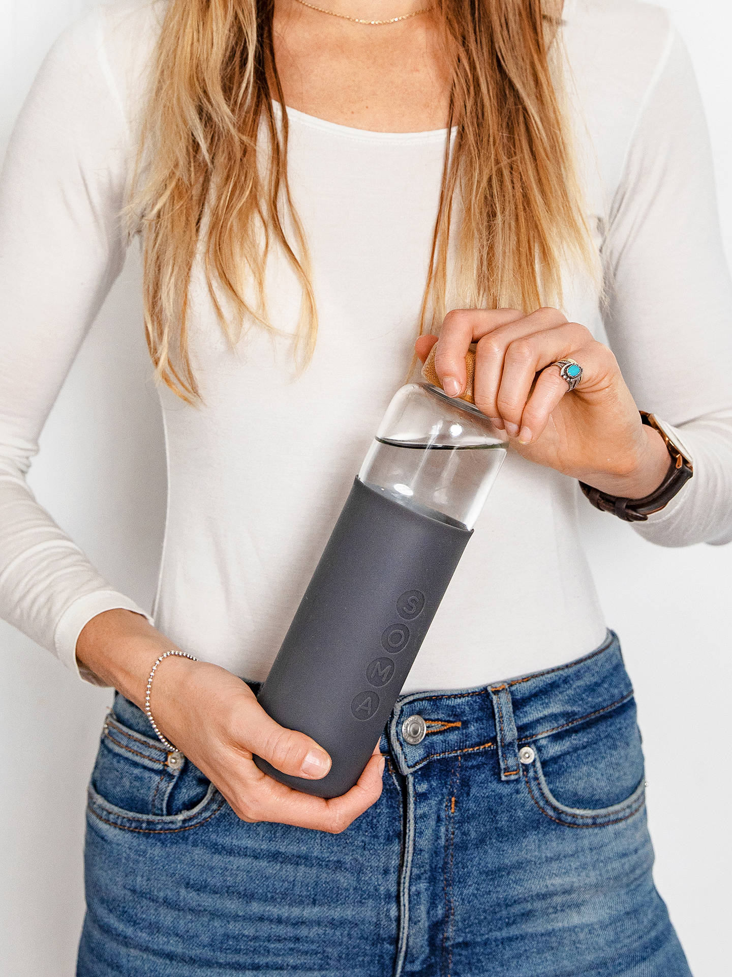 Buy Soma Glass Drinks Bottle with Bamboo Lid,480ml, Grey Online at johnlewis.com