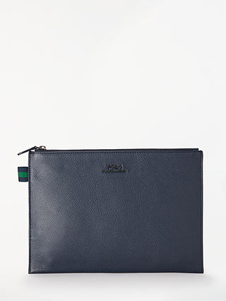 Buy Polo Ralph Lauren Pebble Cow Leather Pouch, Navy Online at johnlewis.com