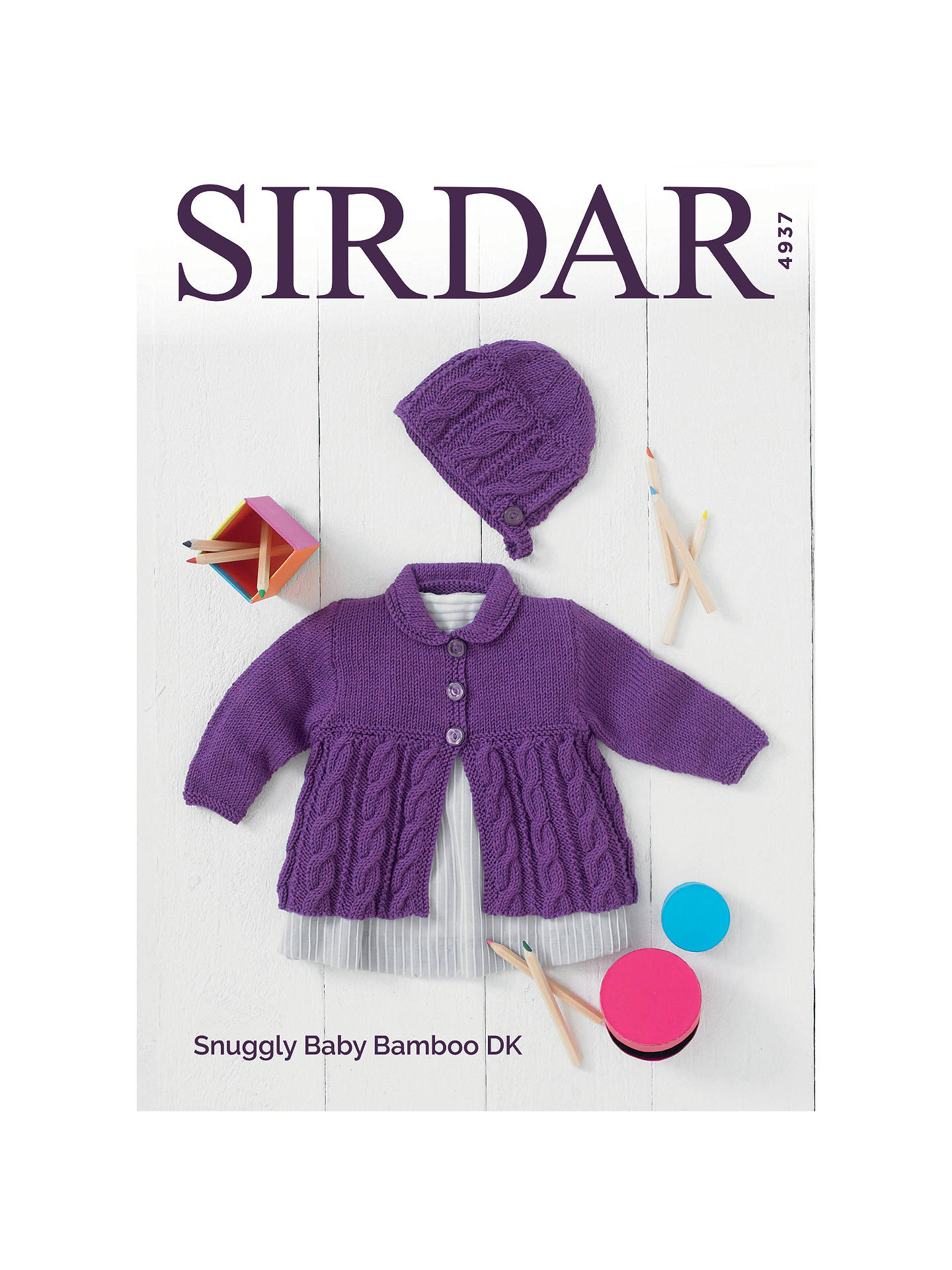Sirdar Snuggly Baby Bamboo DK Cardigan and Hat Knitting Pattern ...