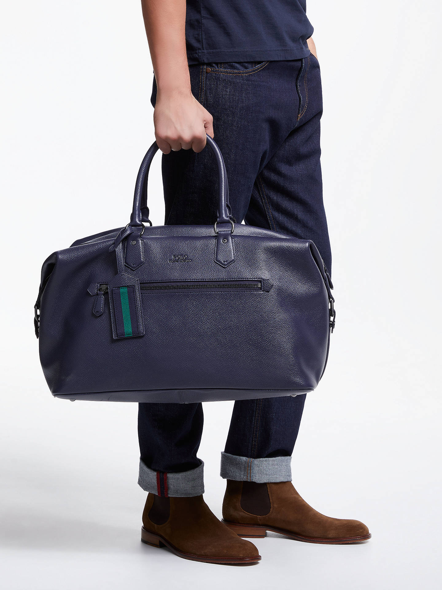 04f2c8be55cb ... Buy Polo Ralph Lauren Pebble Leather Duffle Bag, Navy Online at  johnlewis.com ...
