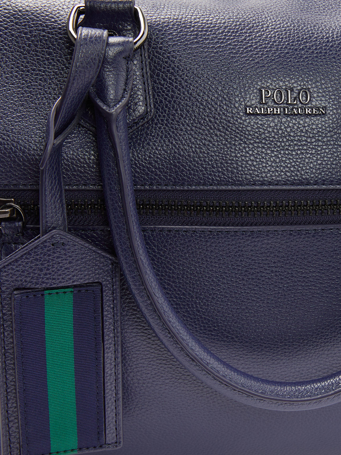4a6a8e539b78 ... Buy Polo Ralph Lauren Pebble Leather Duffle Bag, Navy Online at  johnlewis.com