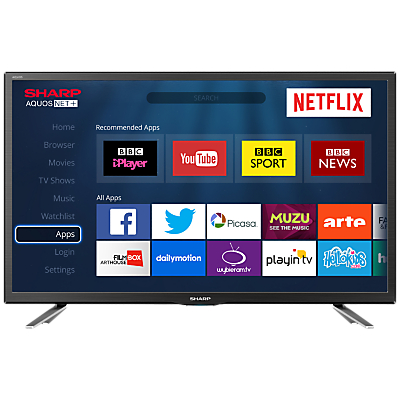 Sharp LC-24CHG6131KF LED HD Ready 720p Smart TV, 24 with Freeview HD/Freeview Play & Miracast, Black