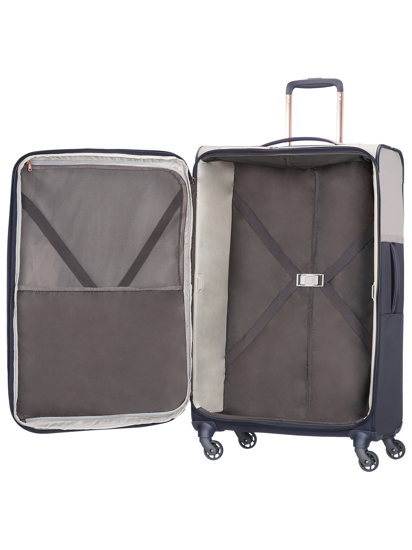 BuySamsonite Uplite 4-Wheel 78cm Spinner Large Case, Pearl/Navy Online at johnlewis.com