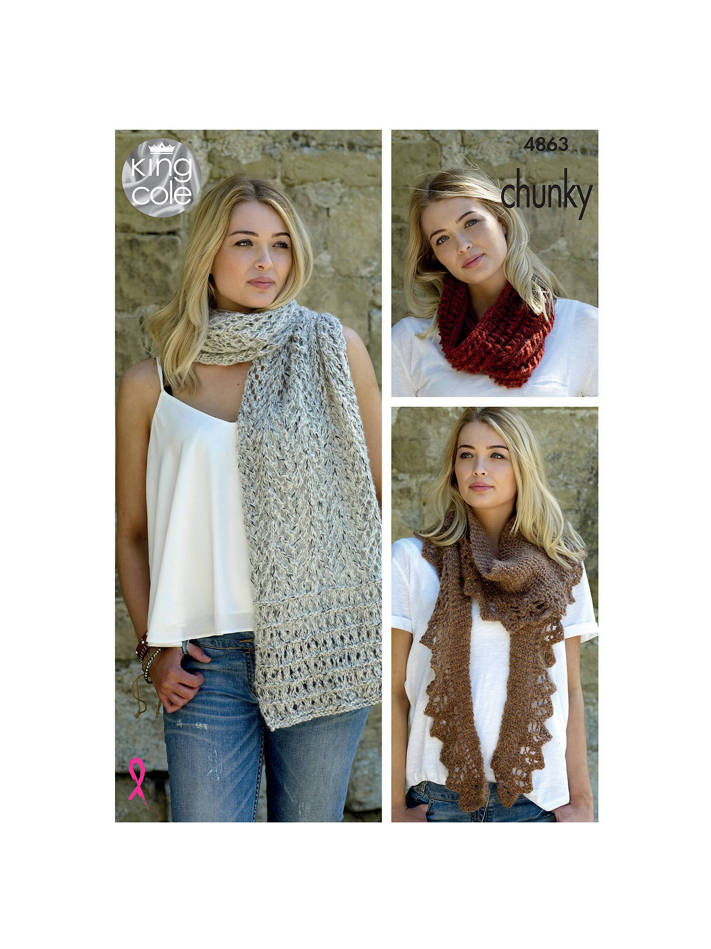 c2679bb09 King Cole Riot DK Ladies Round and V-Neck Sweater Knitting Pattern ...