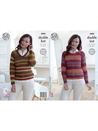 King Cole Riot DK Ladies Jumper and Cardigan Knitting Pattern, 5004