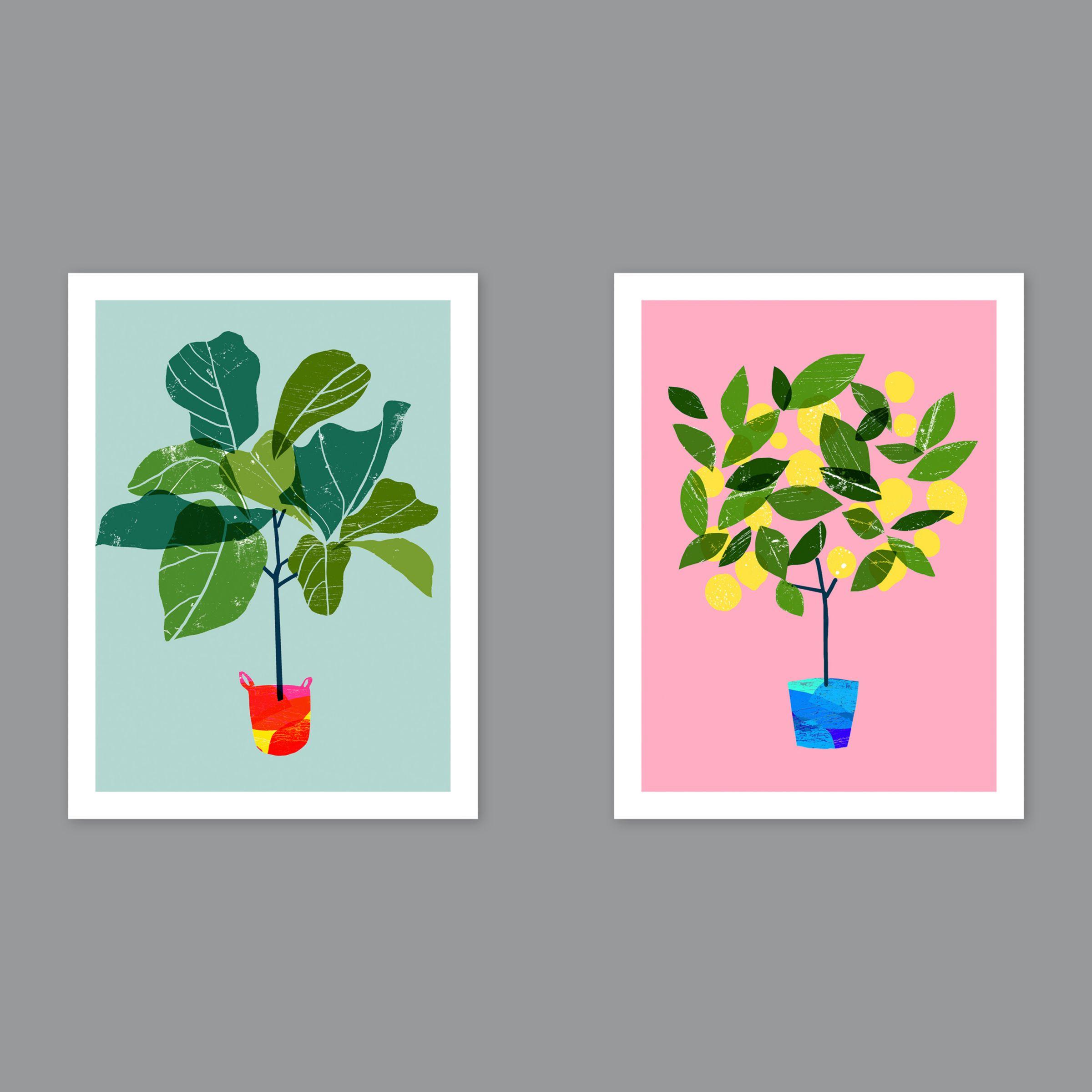 Unbranded Ana Zaja Petrak - Fig Tree / Lemon Tree Unframed Prints, Set of 2, 40 x 30cm