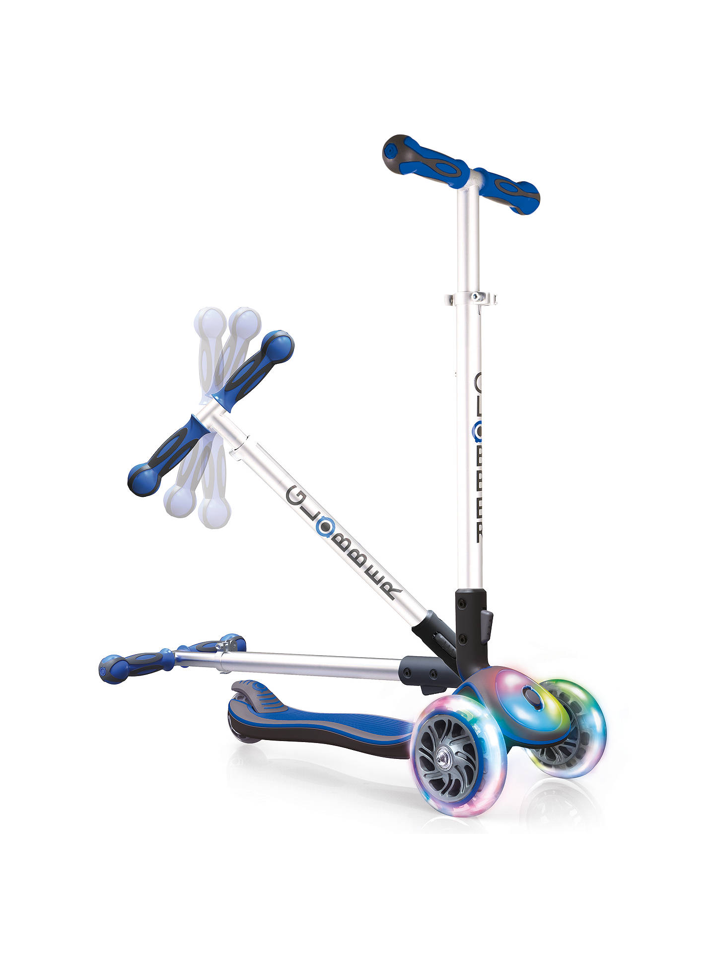 BuyGlobber Elite Foldable Scooter, White/Blue Online at johnlewis.com