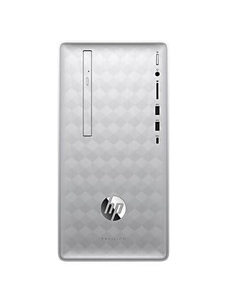HP Pavilion 590-p0035na Desktop PC, Intel Core i5, 8GB RAM, 2TB HDD + 16GB Intel Optane Memory, Natural Silver