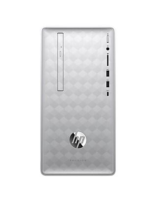 HP Pavilion 590-p0040na Desktop PC, Intel Core i7, 8GB RAM, 2TB HDD + 16GB Intel Optane Memory, GeForce GT 1030, Natural Silver