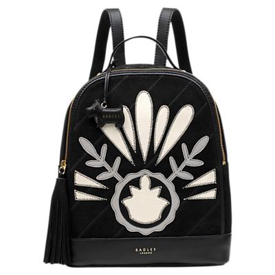 Radley Leighton Medium Leather Backpack, Black/White