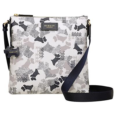 Radley Data Dog Small Zip Top Cross Body Bag, Chalk