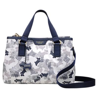 Radley Dog Print Medium Grab Bag, White/Blue