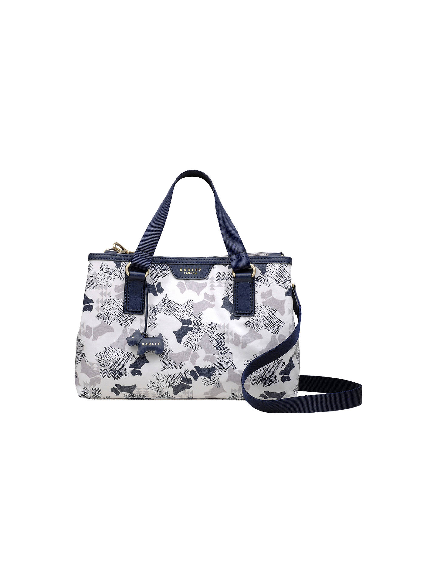 Buy Radley Dog Print Medium Grab Bag, White/Blue Online at johnlewis.com