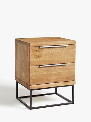 John Lewis & Partners Calia 2 Drawer Bedside Table, Oak