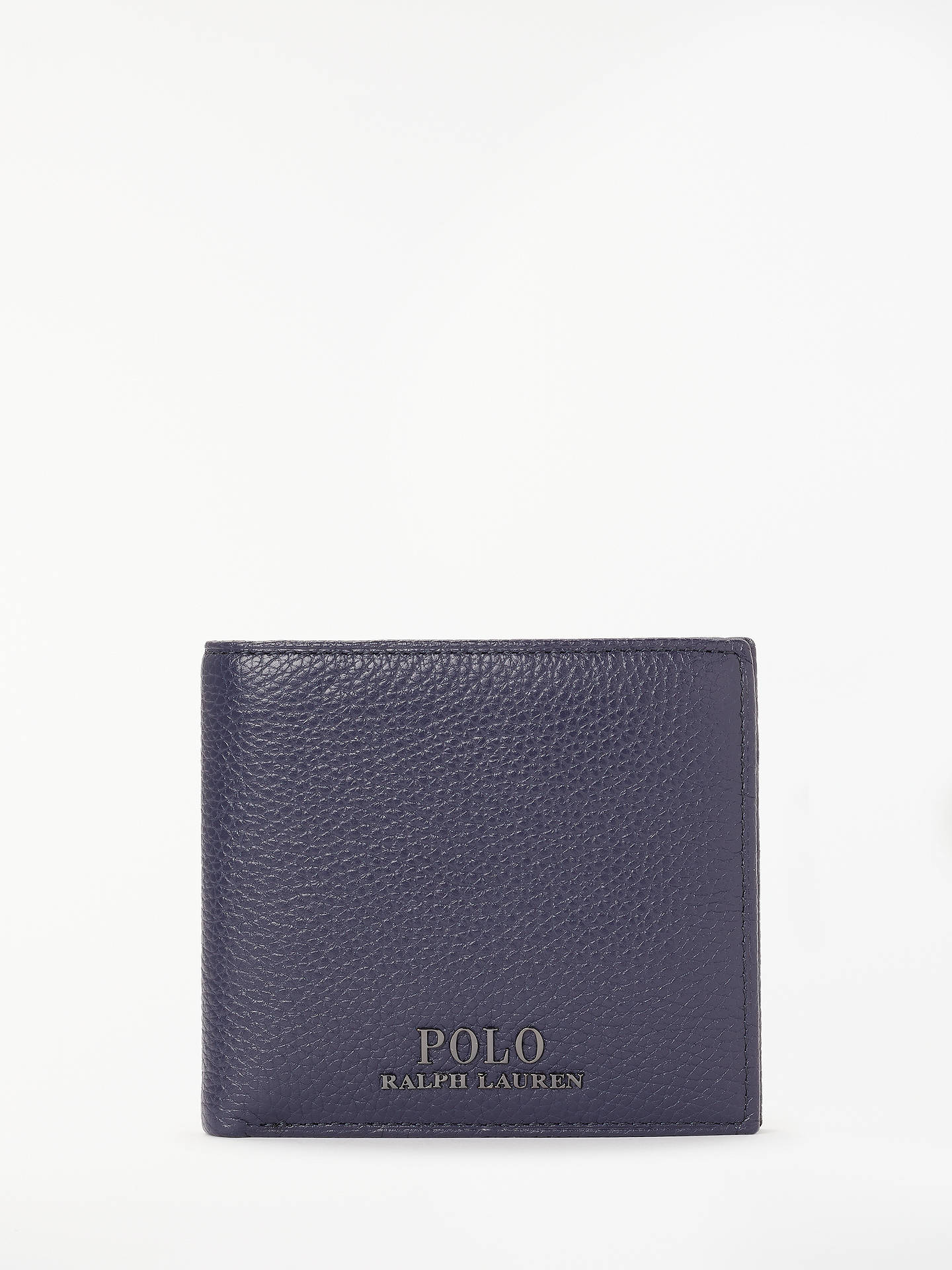 BuyPolo Ralph Lauren Pebble Leather Bifold Wallet, Navy Online at johnlewis.com