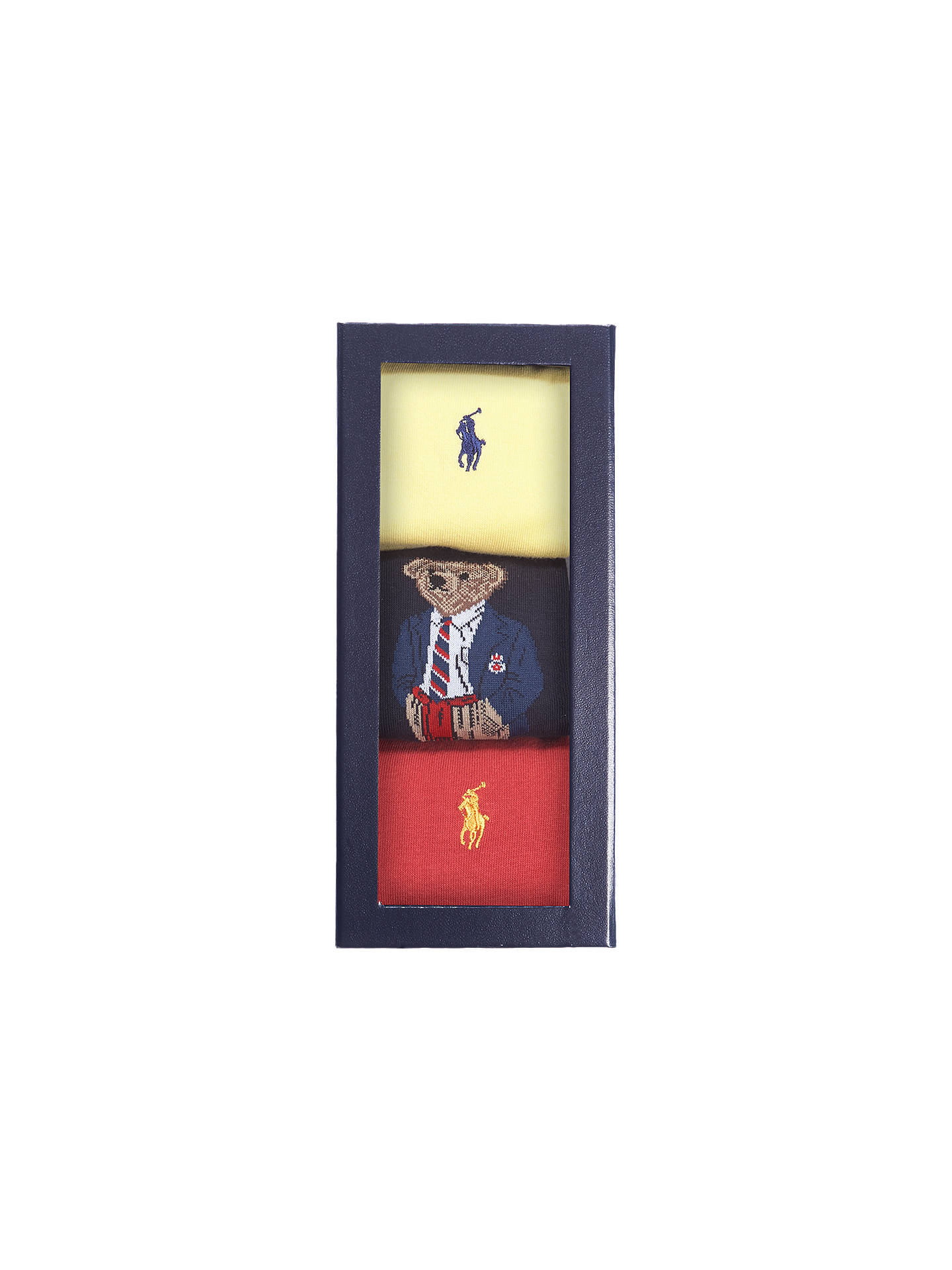 BuyPolo Ralph Lauren Bear Socks Gift Box, Pack of 3, One Size, Multi Online at johnlewis.com