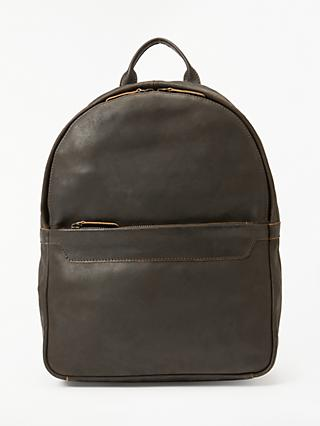 John Lewis & Partners Toronto Leather Backpack, Brown
