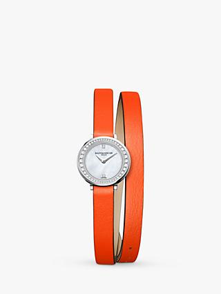 Baume et Mercier M0A10290 Women's Promesse Leather Strap Watch, Orange/Mother of Pearl