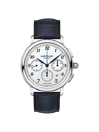 Montblanc 118514 Men's Star Legacy Automatic Chronograph Date Leather Strap Watch, Blue/White