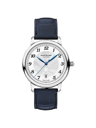 Montblanc 117574 Men's Star Legacy Automatic Date Alligator Leather Strap Watch, Navy/Silver