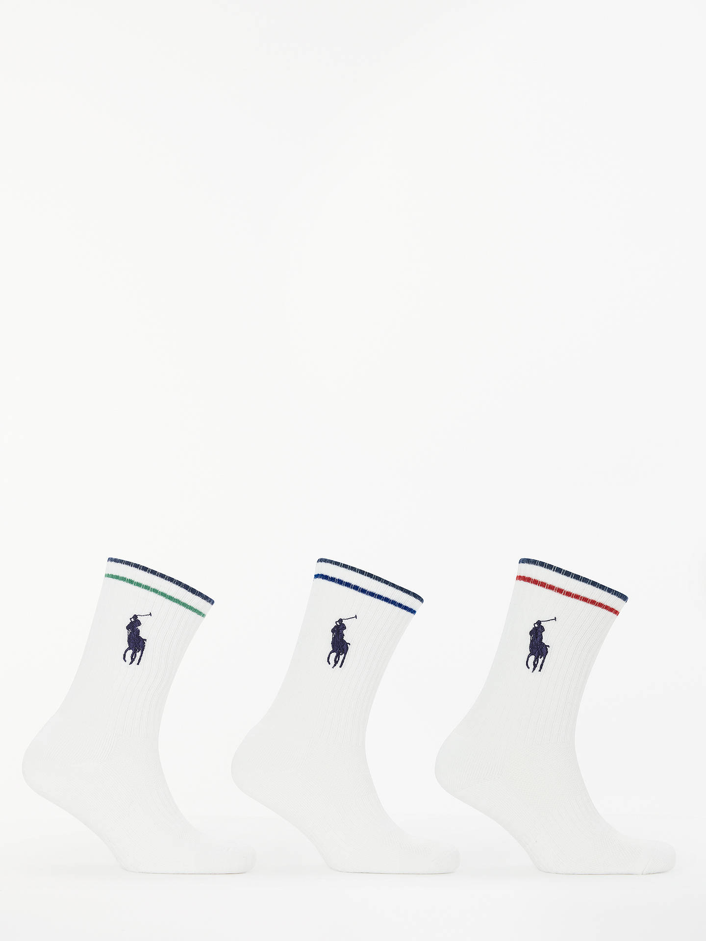 Buy Polo Ralph Lauren Sports Socks, Pack of 3, One Size, White Online at johnlewis.com