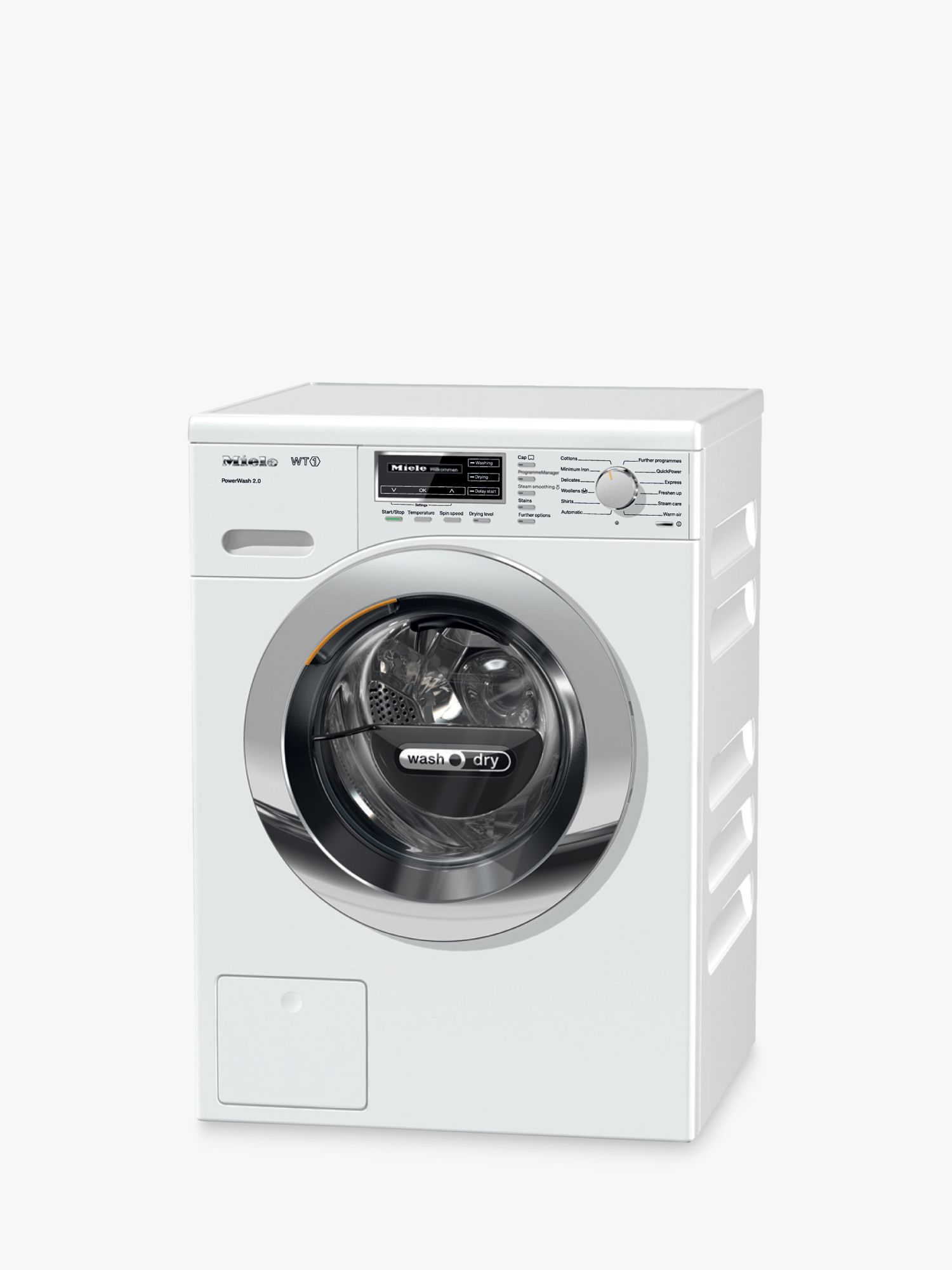Miele Miele WTF121WPM Washer Dryer, 7kg Wash/5kg Dry Load, A Energy Rating, 1600rpm Spin, Lotus White