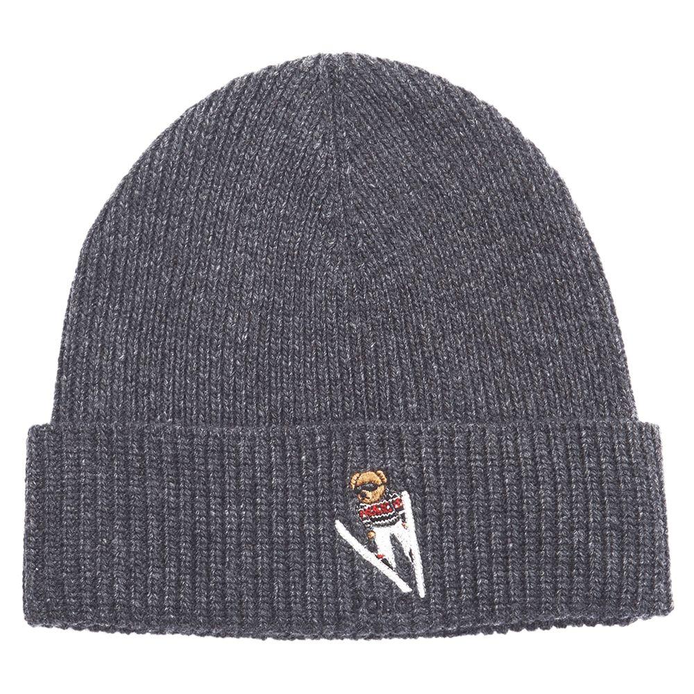 90e3722d6c Polo Ralph Lauren Merino Wool Skiing Bear Hat, Grey