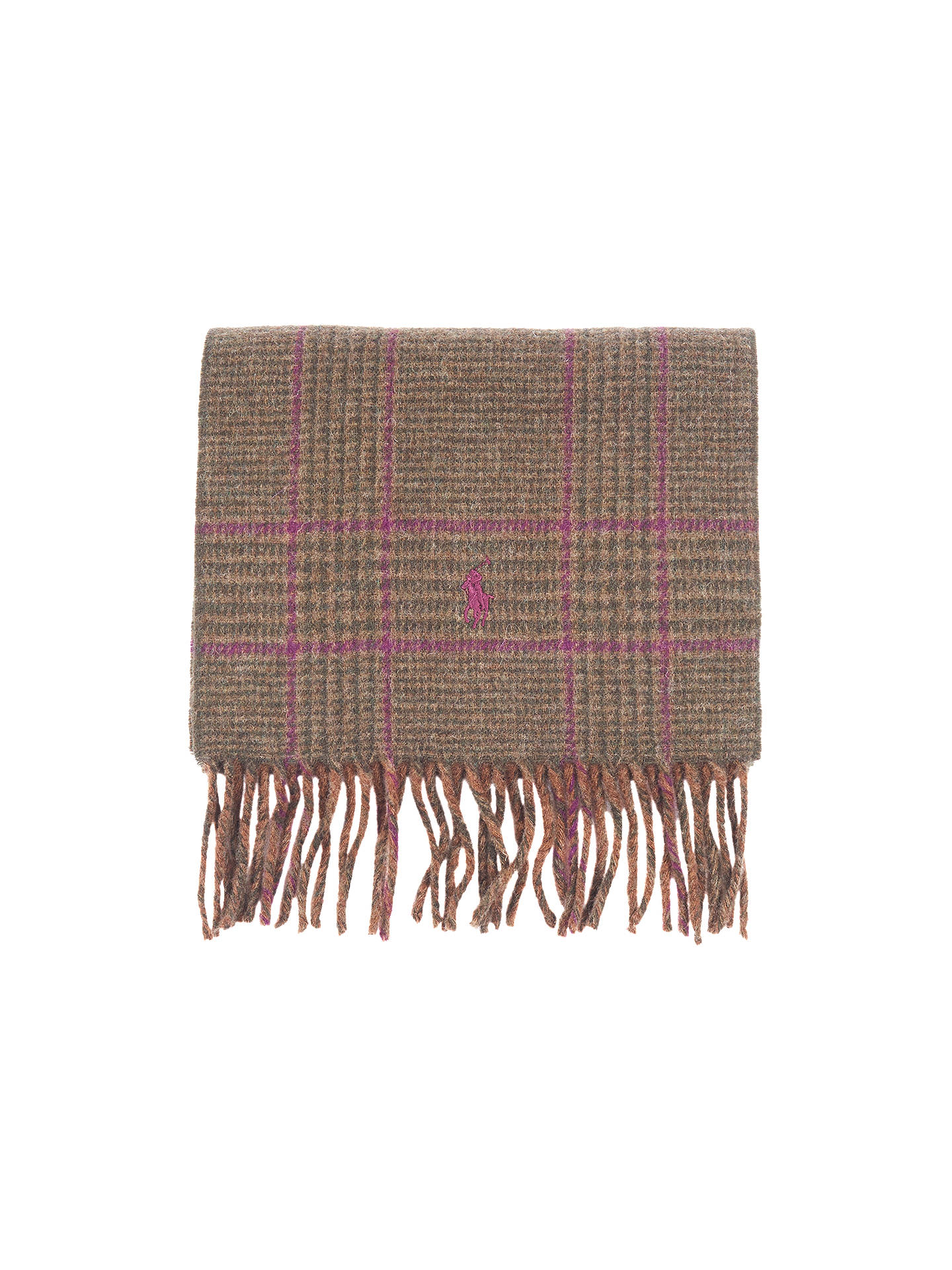 BuyPolo Ralph Lauren Reversible Check Scarf, One Size, Green/Pink Online at johnlewis.com