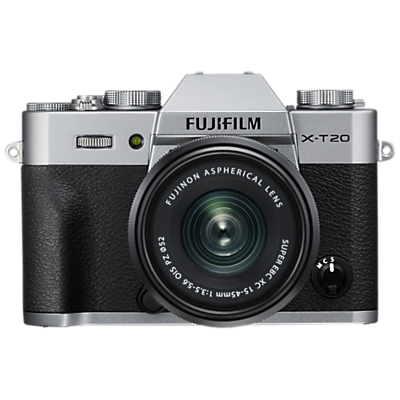 Fujifilm X-T20 Compact System Camera with XC 15-45mm OIS Lens, 4K Ultra HD, 24.3MP, Wi-Fi, OLED EVF, 3� Tiltable LCD Touch Screen, Silver