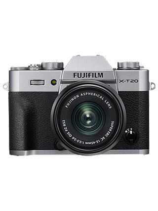 "Buy Fujifilm X-T20 Compact System Camera with XC 15-45mm OIS Lens, 4K Ultra HD, 24.3MP, Wi-Fi, OLED EVF, 3"" Tiltable LCD Touch Screen, Silver Online at johnlewis.com"