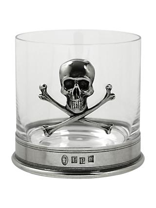 English Pewter Company Skull Tumbler, Crystal, 13.5oz