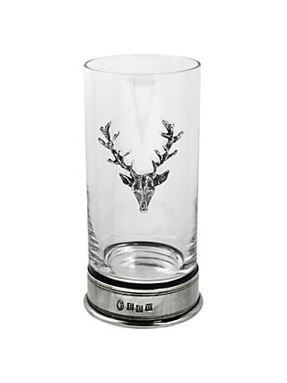 English Pewter Company Single Stag Highball Spirit Glass, Crystal, 12oz