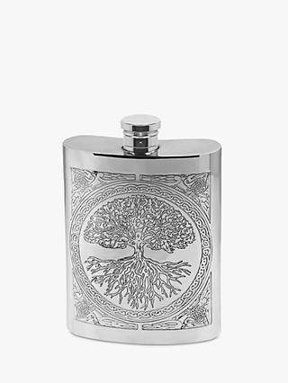 English Pewter Company Tree of Life Hipflask, 170ml