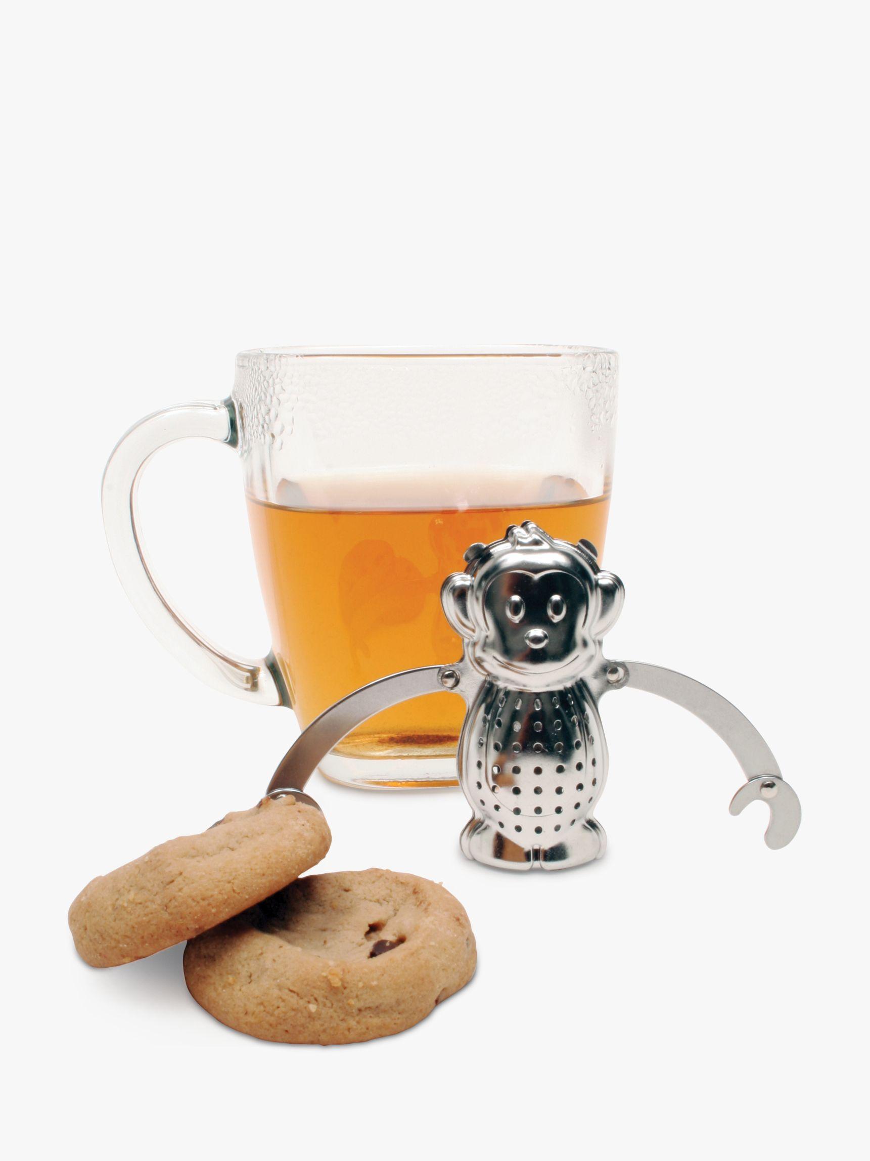 Kikkerland Kikkerland Monkey Stainless Steel Tea Infuser and Drip Tray
