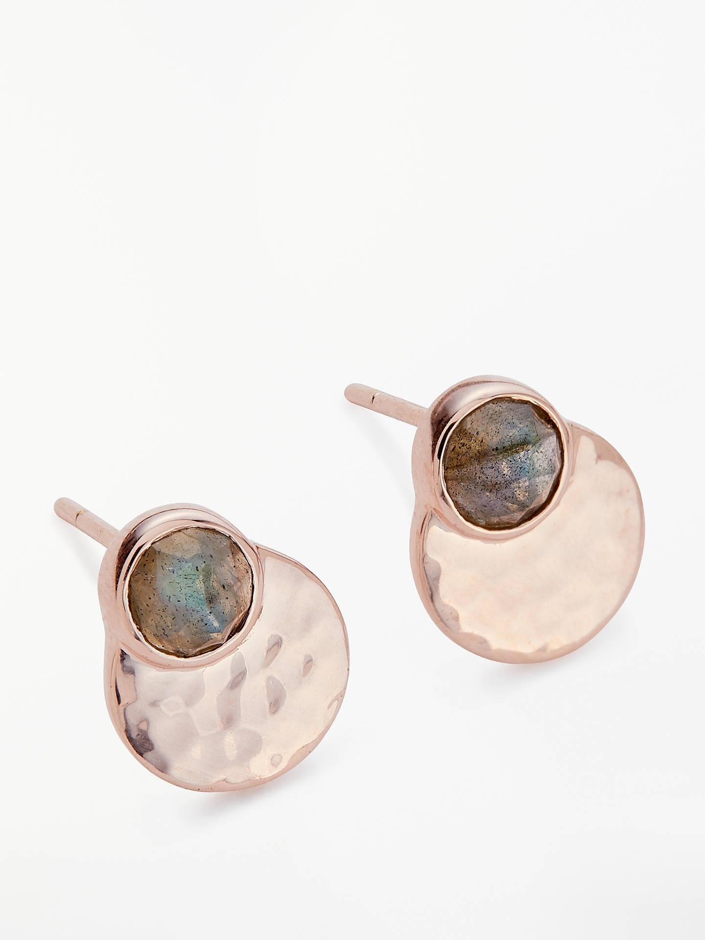 John Lewis Partners Semi Precious Stone Round Stud Earrings Rose Gold Labradorite