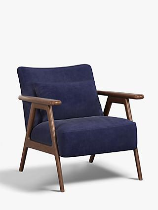 John Lewis & Partners Hendricks Accent Armchair, Dark Wood Frame, Isabella Midnight