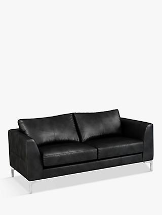 John Lewis & Partners Belgrave Medium 2 Seater Leather Sofa, Metal Leg