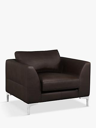John Lewis & Partners Belgrave Leather Armchair, Metal Leg