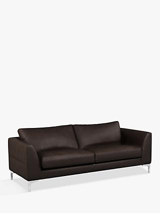 John Lewis & Partners Belgrave Grand 4 Seater Leather Sofa, Metal Leg