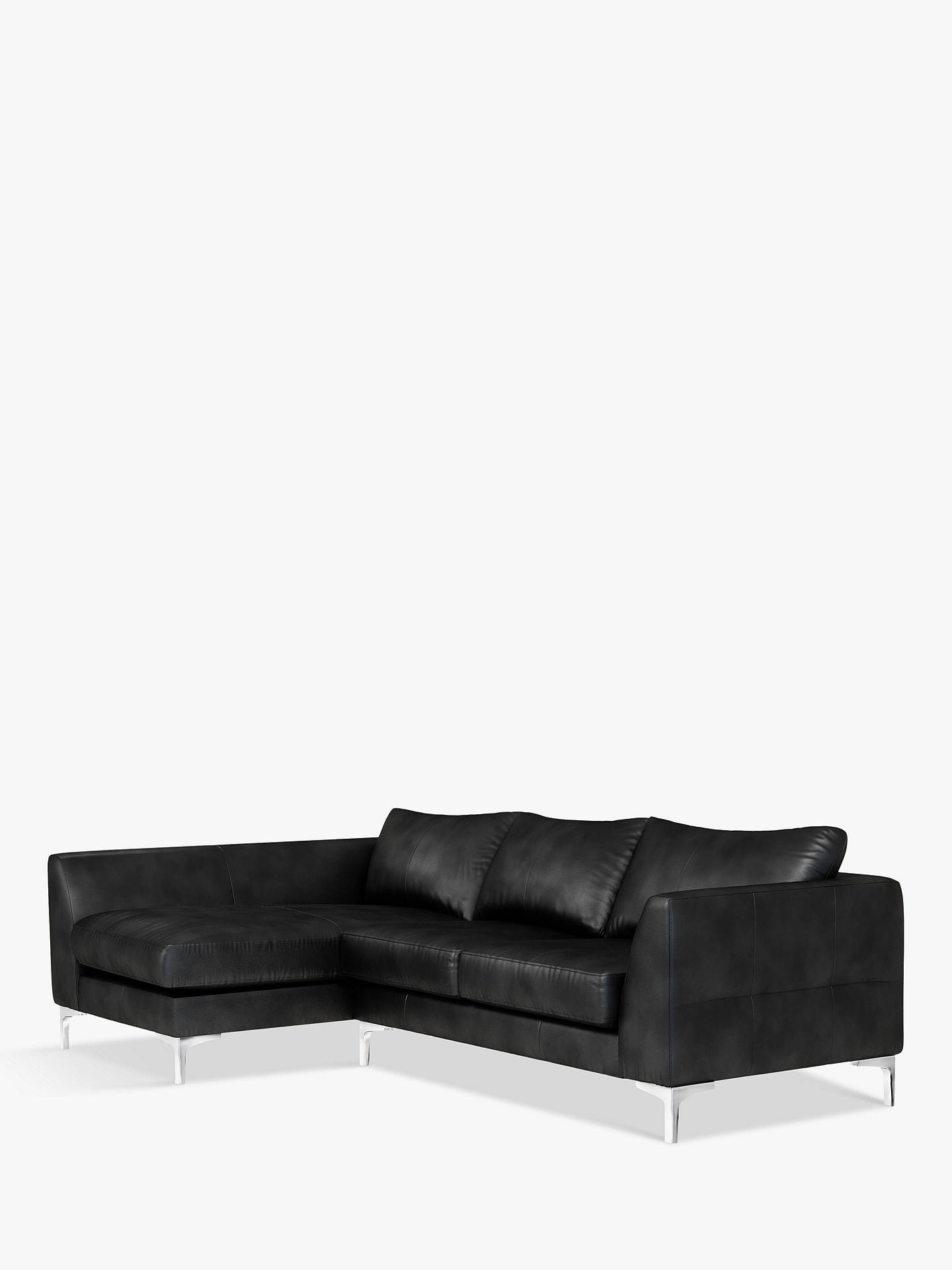 John Lewis Partners Belgrave Lhf Chaise End Leather Sofa Metal Leg Contempo Black