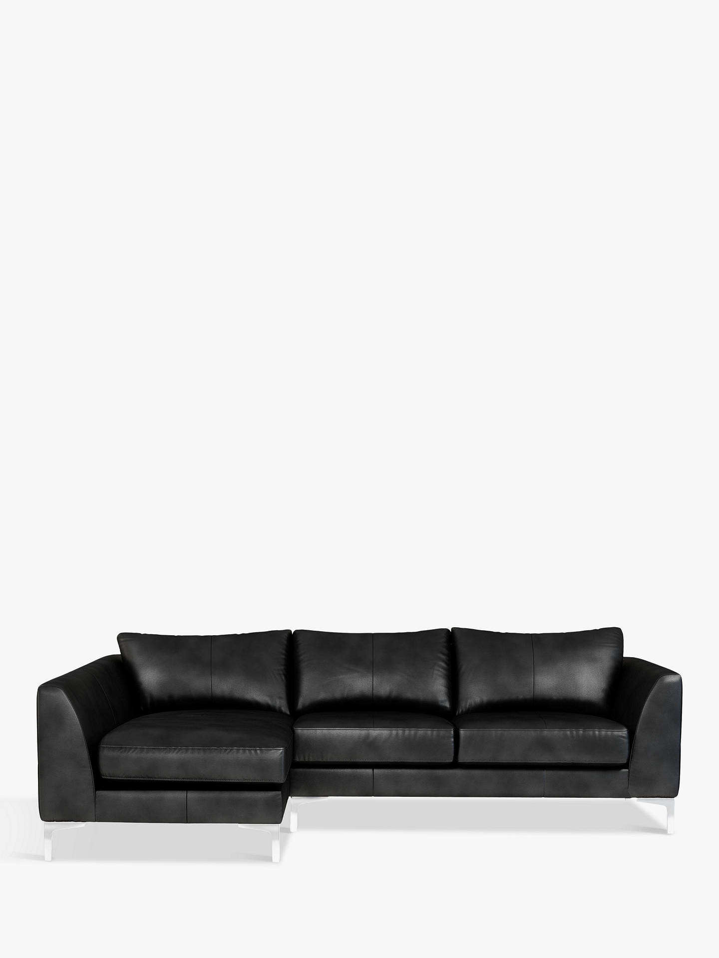 Buy John Lewis & Partners Belgrave LHF Chaise End Leather Sofa, Metal Leg, Nature Black Online at johnlewis.com