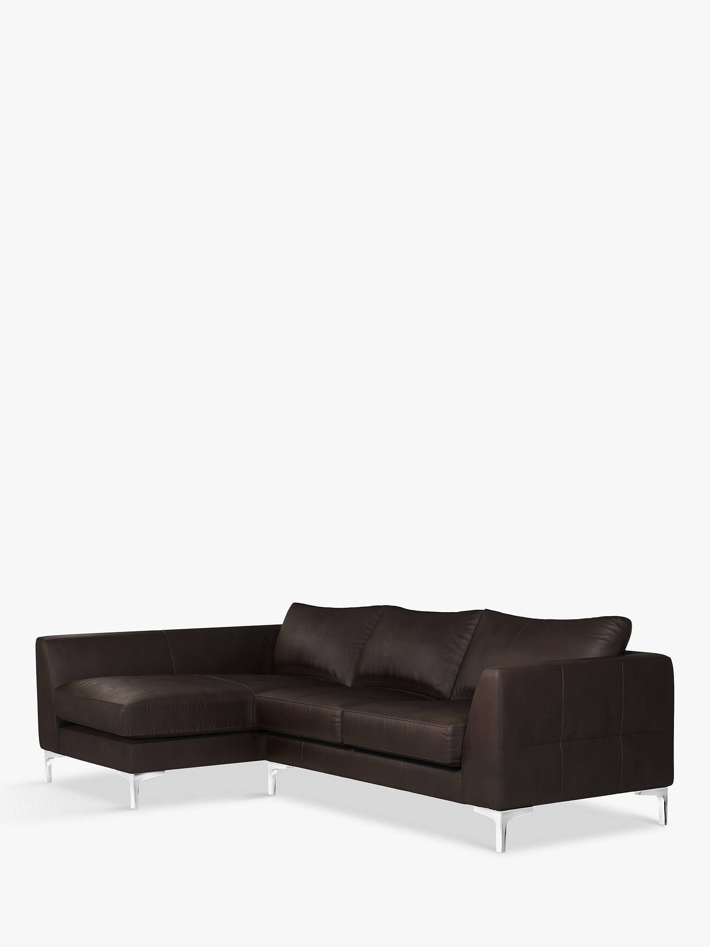 Buy John Lewis & Partners Belgrave LHF Chaise End Leather Sofa, Metal Leg, Demetra Charcoal Online at johnlewis.com
