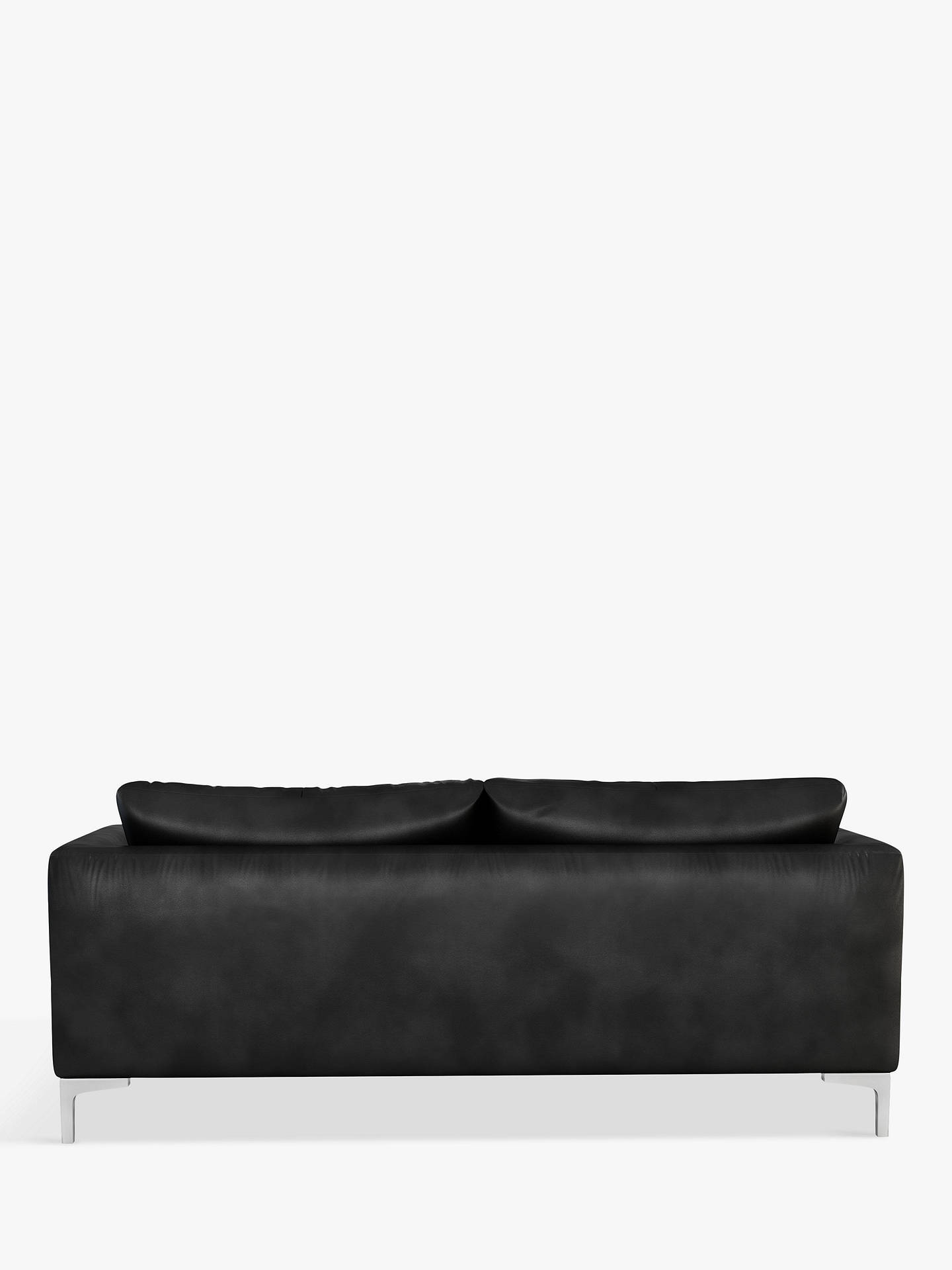 Buy John Lewis & Partners Belgrave Large 3 Seater Leather Sofa, Metal Leg, Nature Black Online at johnlewis.com