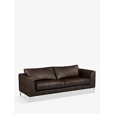 John Lewis & Partners Belgrave Grand 4 Seater Leather Sofa, Metal Leg