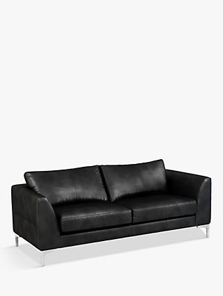 John Lewis & Partners Belgrave Large 3 Seater Leather Sofa, Metal Leg
