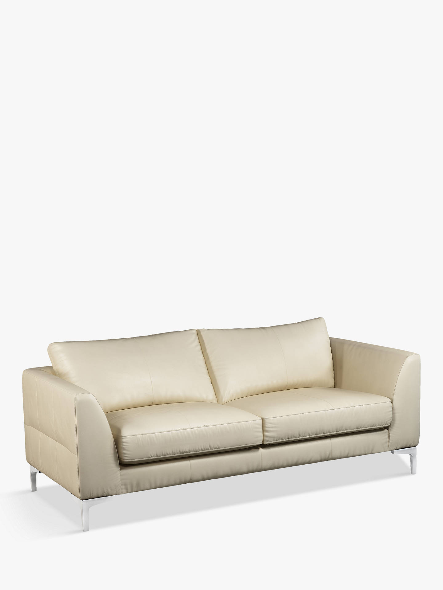Buy John Lewis & Partners Belgrave Large 3 Seater Leather Sofa, Metal Leg, Contempo Ivory Online at johnlewis.com