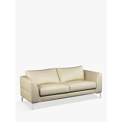 John Lewis & Partners Belgrave Large 3 Seater Leather Sofa, Metal Leg